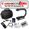 """Deluxe Accessory Kit for Canon EOS Rebel T2i T3i T4i with Opteka Microfiber Deluxe Photo / Video Camera Gadget Bag, Opteka X-Grip Handle, 32GB SDHC High Speed Memory Card and More! """"Opteka X-GRIP Professional Camera / Camcorder Action Stabilizing Handle with Accessory Shoe for Flash, Mic, or Video LightThe Opteka X-GRIP handle can be used by both a professional or amateur user. This incredible support offers stability and control. The hot shoe attachment enables you to add a video light or flash.Opteka Microfiber Deluxe Photo/Video Camera Gadget Bag for Digital Cameras & Camcorders The shockproof / waterproof Opteka microfiber case holds cameras and camcorders with midrange zoom lens, extra lenses and accessories. Features 9"""""""" main compartment, plus 2 side pockets, zippered mesh pocket in lid, front zippered accessory pocket with 4 internal pockets, and 2 customizable interior dividerOpteka RC-4 Wireless Remote Control for Canon EOS Digital Rebel XT, XTi, XSi, T1i, T2i, T3i, T4i, 60D, 7D & 5D Mark II/III Digital SLR Cameras The new Opteka RC-4 remote control makes taking group photos easy by allowing you to take pictures away from the camera. The RC-4 allows the selection of either a 2-second shutter delay or instant shutter release. Opteka 32 GB Class 10 SDHC Secure Digital Memory CardWhen speed and reliability are everything, shoot like a pro with Opteka High Speed Professional SDHC memory cards. New advanced controller technology provides faster shot-to-shot and its advanced Error Correction Code (ECC) engine improves overall data integrity and reliability of the card during read and write. So when the unexpected happens-you'll be ready. Get more RAW + JPEG continuous burst mode shooting and capture full HD video like never before.Also Included :USB 2.0 SD/SDHC/MMC Flash Memory Card Reader Opteka 6 Foot Gold Plated Regular to Mini HDMI 1080p Cable Opteka Digital Camera / Camcorder Lens Cleaning Kit, Tabletop Tripod, & LCD Screen Protectors 47st.Photo Deluxe Micro"""