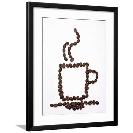 Outline of a Cup of Coffee in Coffee Beans Framed Print Wall Art By Gustavo (Frame Outline)