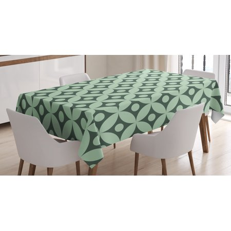 Mint tablecloth old fashioned floral pattern circular for Dining room table 90 inch