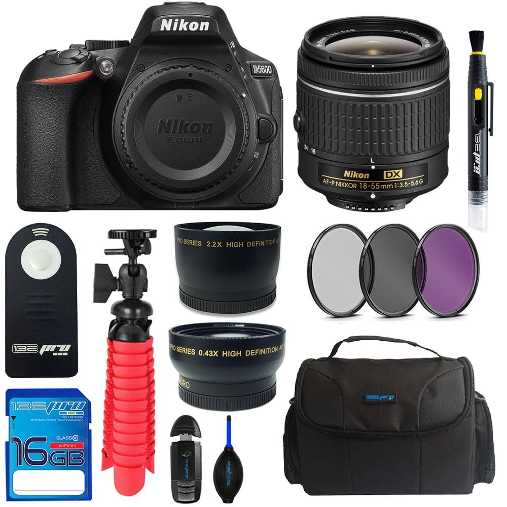 Nikon D5600 DSLR Camera + Nikon AF-P DX NIKKOR 18-55mm f/3.5-5.6G Lens + 16GB SD Card + Camera Case + Tripod + Pixi Basic Bundle Kit