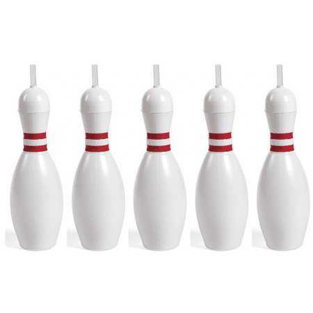 Bowling PIn Bottles, Plastic Sipper Cups with Straws, Set of 5 (Monogrammed Cups With Straw)