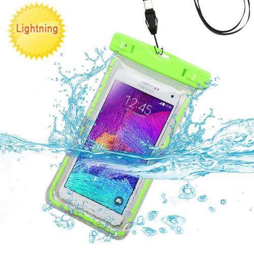 Premium Waterproof Sports Swimming Waterproof Water Resistant Lightning Carrying Case Bag Pouch for Alcatel OneTouch Flash 2 (with Lanyard) (Green) + MYNETDEALS Mini Touch Screen Stylus