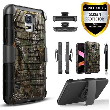 Galaxy S5 Case, Dual Layers [Combo Holster] And Built-In Kickstand Bundled with [Premium Screen Protector] Hybird Shockproof And Circlemalls Stylus Pen (Camo) (Dollar Cases For Galaxy S5)