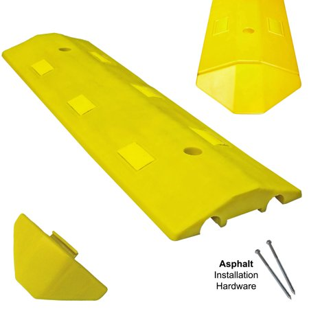 3FT Asphalt Light Weight Speed Bump Traffic Road Safety Control Yellow