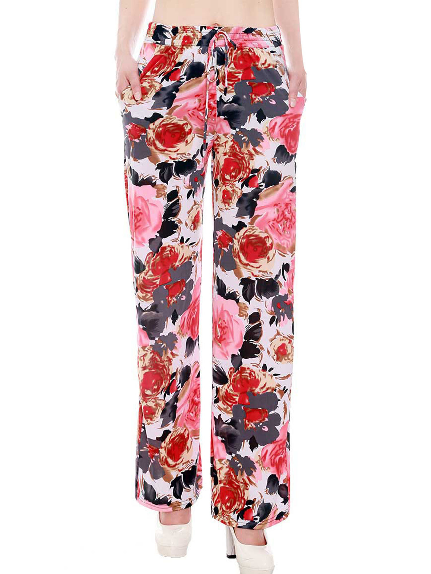 Juniors Palazzo Style Pants in All over Floral Pattern, M/L