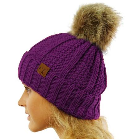 CC Winter Sherpa Fleeced Lined Chunky Knit Stretch Pom Pom Beanie Hat Cap 4b7ed12587c1