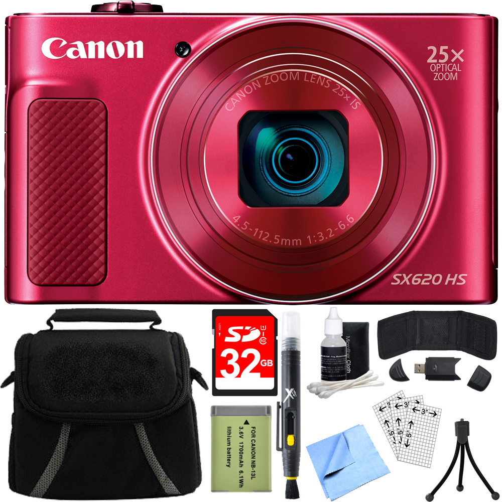 Canon PowerShot SX620 HS 20.2MP Digital Camera Red w/ 32GB Accessory Bundle includes Camera, 32GB SDHC Memory Card, Bag, Mini Tripod, Screen Protectors, Cleaning Kit, Beach Camera Cloth and More