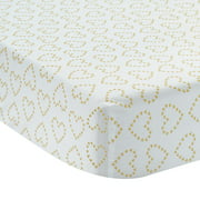 Lambs & Ivy Confetti White with Gold Hearts 100% Cotton Baby Fitted Crib Sheet
