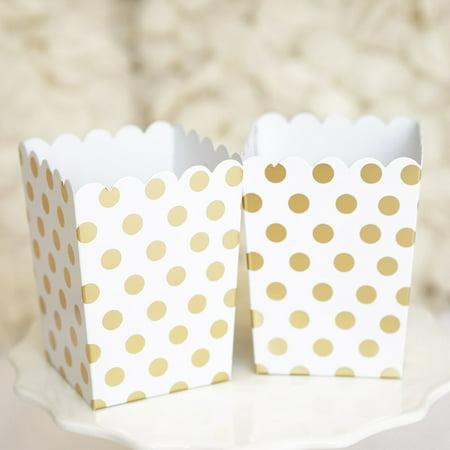Gold and White Polka Dot Popcorn Favor Boxes Bridal Baby Shower Gold Foil Gift Boxes-Set of 10](Spy Baby Bridal)