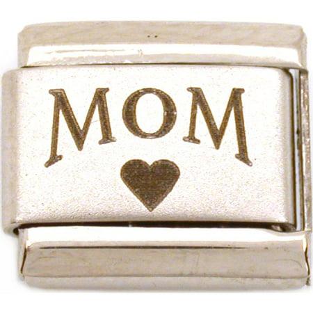 Mom Heart Italian Charm Laser  Love  9mm (Love Custom 9mm Italian Charm)