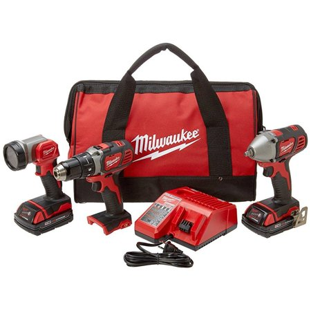 Milwaukee 2691-23 M18 18-Volt Lithium-Ion Cordless Compact Drill/Impact Wrench/Light 3-Tool Combo