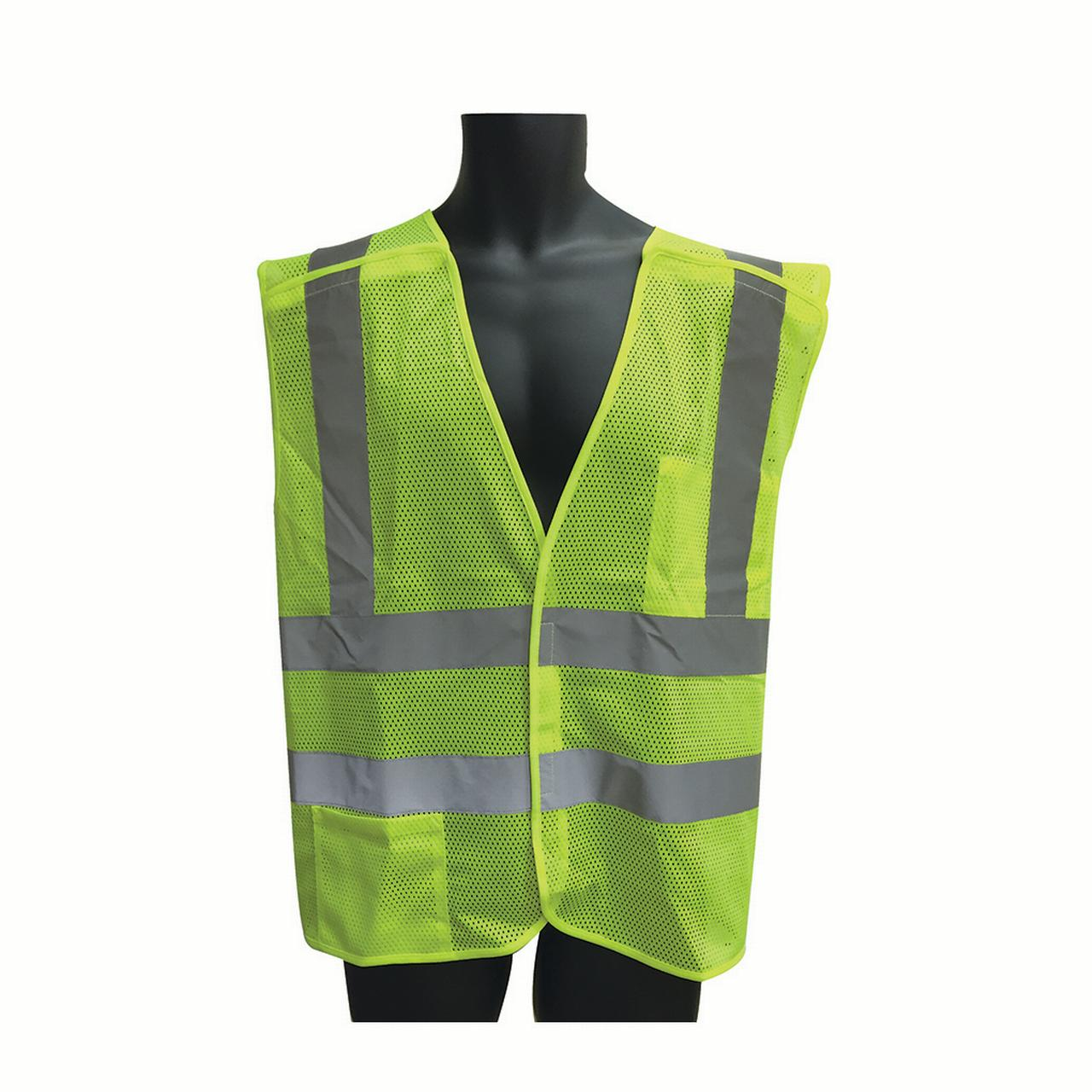 Class II, 5-Point Breakaway Vest Lime Green Mesh. Size: X-Large Lot of 1 Pack(s) of 1 Unit
