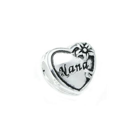 Sterling Silver Great Grandma Nana Heart Flower Family Love Bead Charm Fits