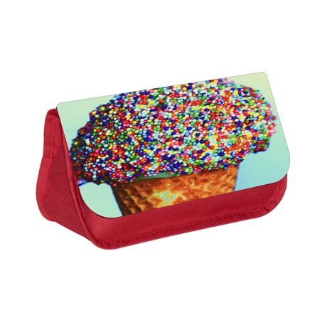 Ice Cream with Colorful Sprinkles -  Red Girls  Pencil Case - Pencil Bag - with 2 Zippered -