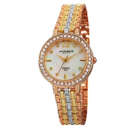 Akribos XXIV Women's Swiss Quartz Diamond-Accented Dial Bracelet Watch