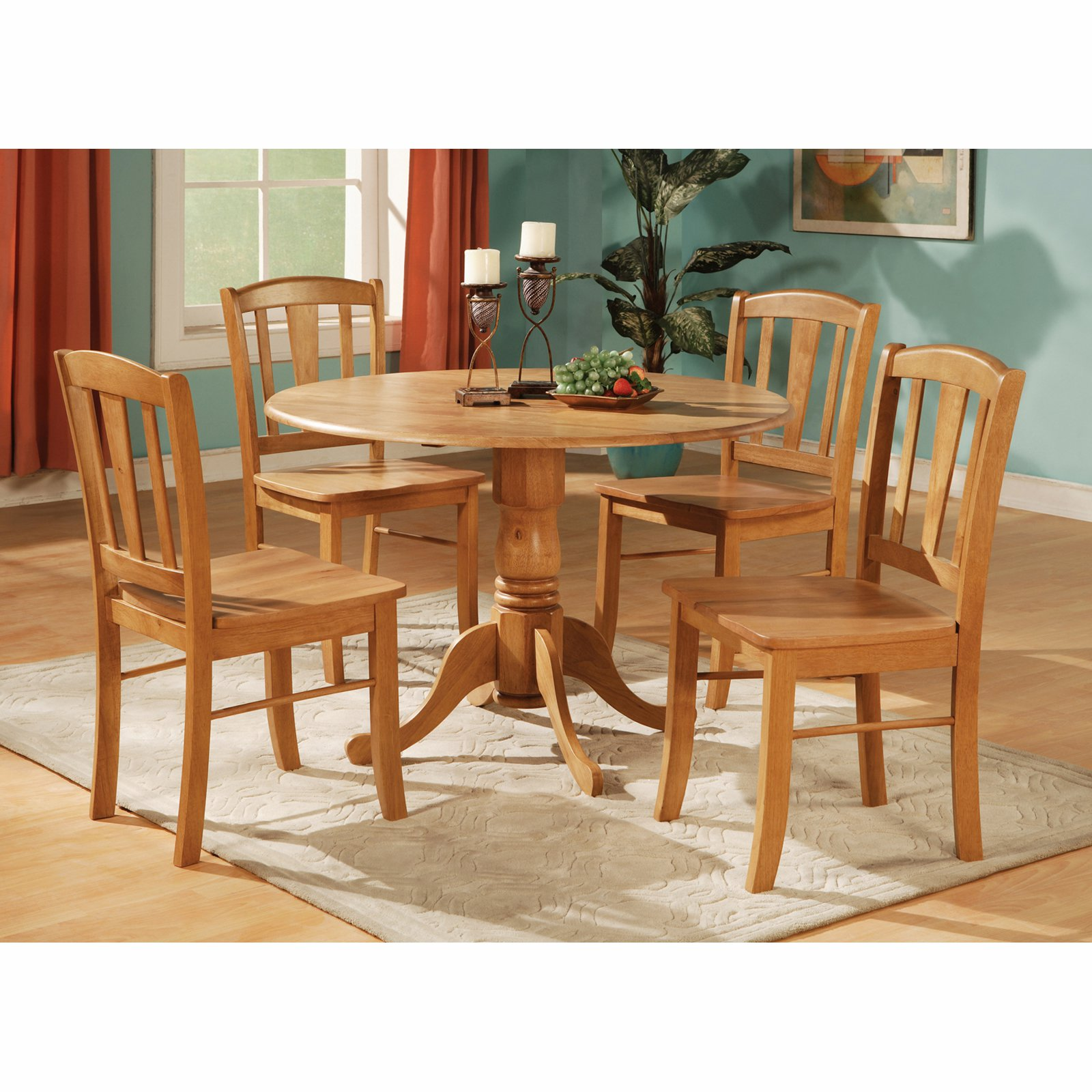 East West Furniture Dublin 5 Piece Drop Leaf Dining Table Set
