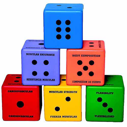 """Sportime Multilingual Five Components of Fitness Dice Set, 6"""" Square, Assorted Colors, Set of 6"""