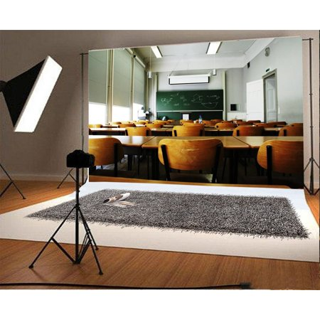 GreenDecor Polyster The Classroom Backdrop 7x5ft Photography Background Blackboard School Table Chairs Multimedia Technology Lights Lecture Students Education Photos Video Studio Props