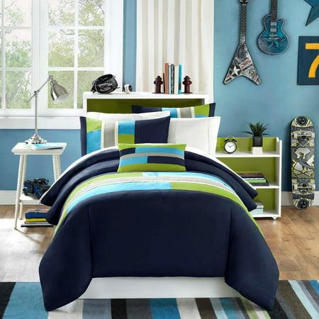 Pipeline Comforter Set, Full/ Queen, Navy, Set includes: 1 comforter, 2 shams, 1 pillow By Mi-Zone ()