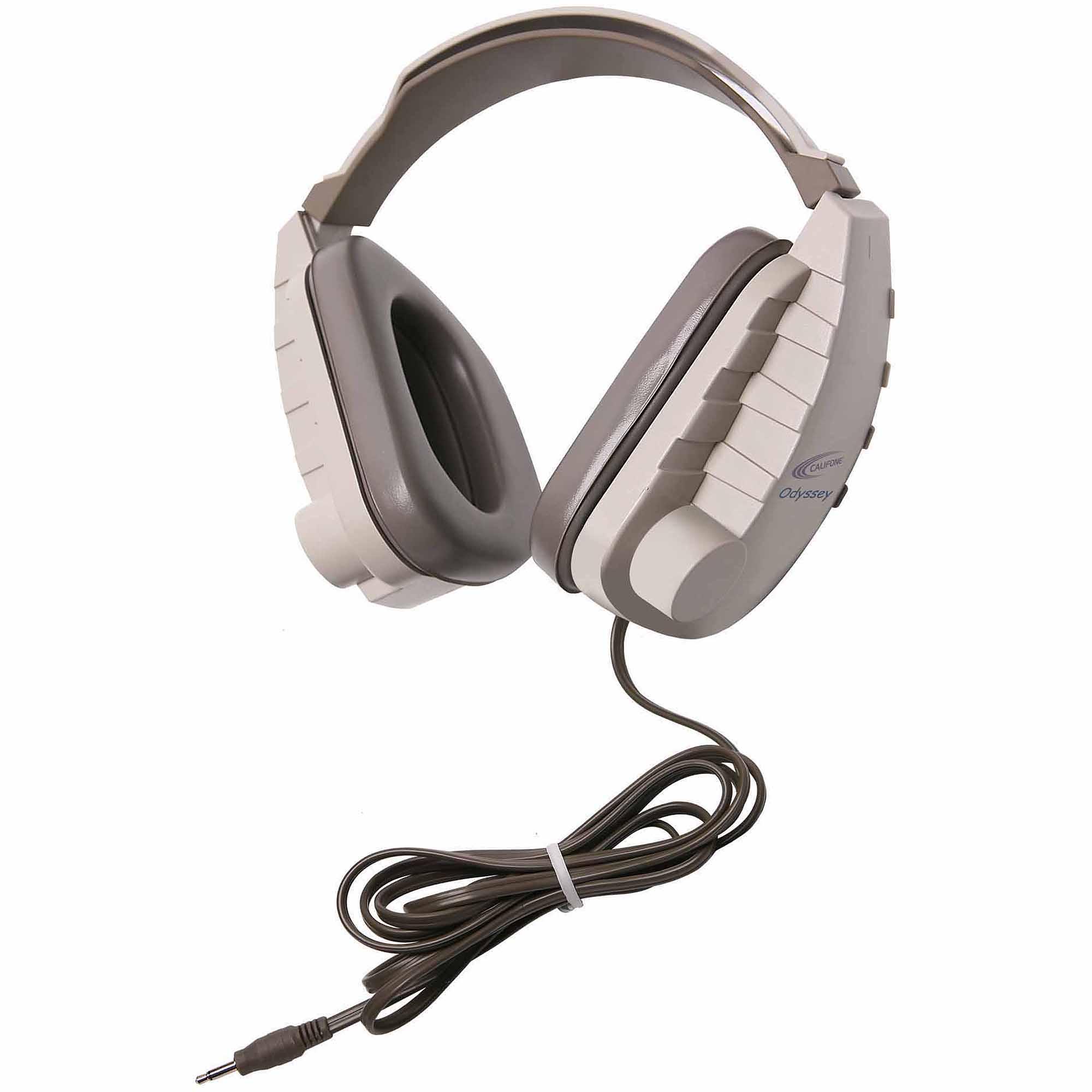 Califone Binaural, Headset 3.5mm Mono Plug Via Ergoguys - Stereo - Beige, Light Gray - Mini-phone - Wired - 130 Ohm - 20 Hz 20 Khz - Over-the-head - Binaural - Circumaural - 6 Ft Cable (oh-1v)