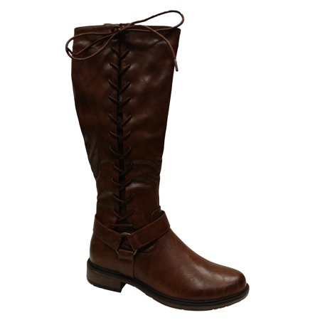 Pierre Dumas Women's Barcelona 2 Brown Faux Leather Knee High Riding Boot with Full Side Lace Up Size: 11, Width: Medium