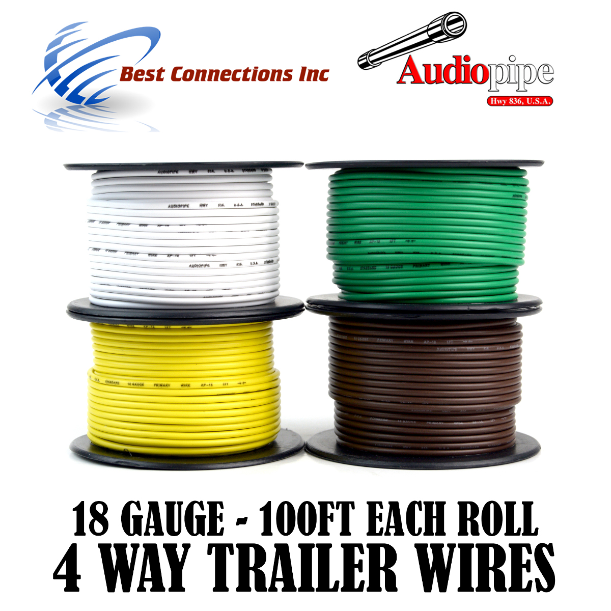 4 Way Trailer Wire Light Cable for Harness LED 100ft Each Roll 18 Gauge 4 Rolls