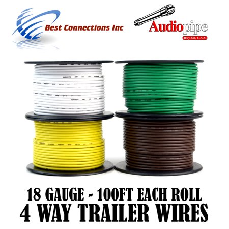 4 Way Trailer Wire Light Cable for Harness LED 100ft Each Roll 18 ...