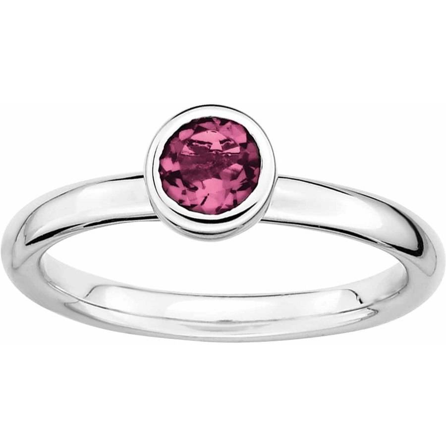 SS Stackable Expressions Low 5mm Round Pink Tourmaline Ring by Generic