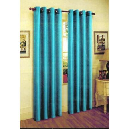 1 Panel Nancy Solid Turquoise Semi Sheer Window Faux Silk