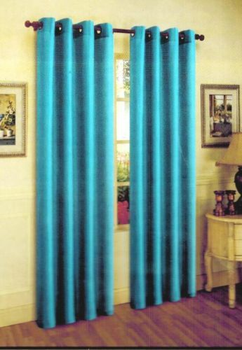 Marvelous 1 PANEL Nancy SOLID TURQUOISE SEMI SHEER WINDOW FAUX SILK ANTIQUE BRONZE  GROMMETS CURTAIN DRAPES 55