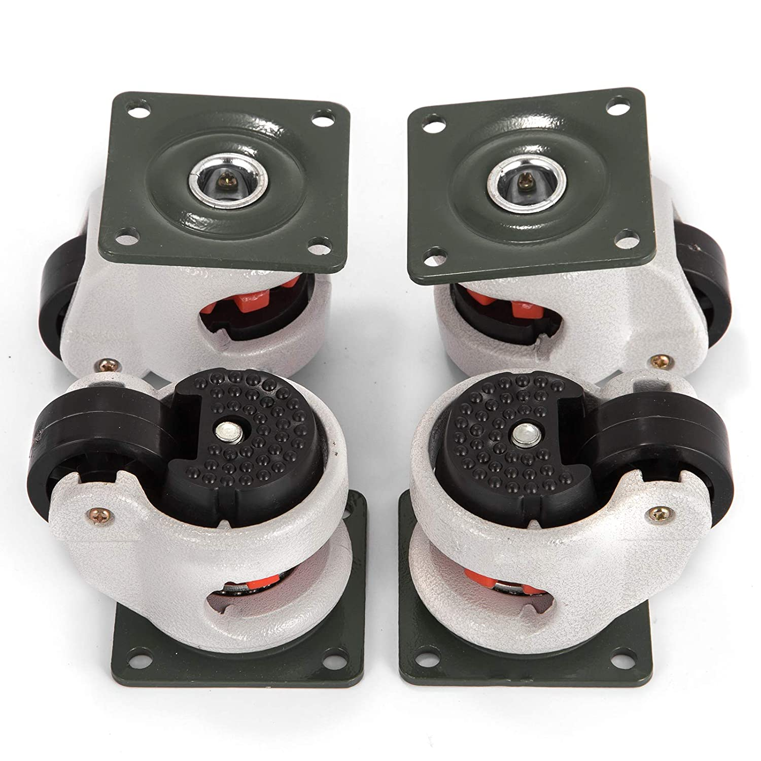 4 Pack GD-40F Leveling Casters Plate Mounted Leveling Caster w// Mounting Screws