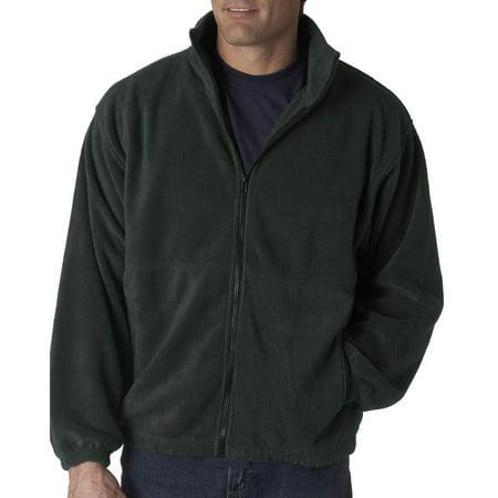 UltraClub Mens Iceberg Fleece Reinforced Full Zip Jacket, Charcoal, 5XL, Style, - Mens Jacket Charcoal