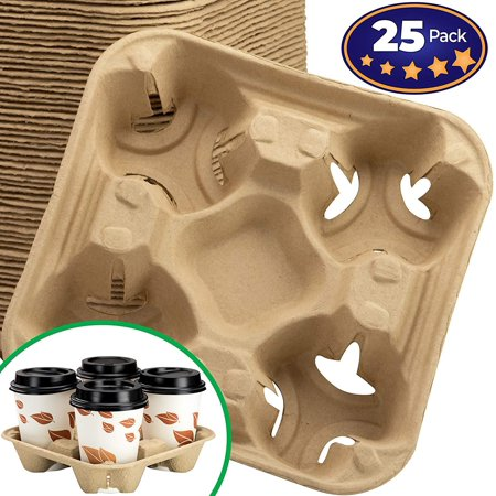 Premium Biodegradable 4 Cup Carrier 25 Pack by Avant Grub. Compostable, Pulp Fiber Tray For Hot and Cold Drinks. Eco-Friendly and Stackable To Keep Soda, Coffee and Other Beverages From (1 Cup Hot Beverage)