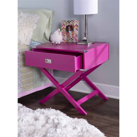 Linon Peggy X Base Wood Accent Table in Pink - image 9 de 11