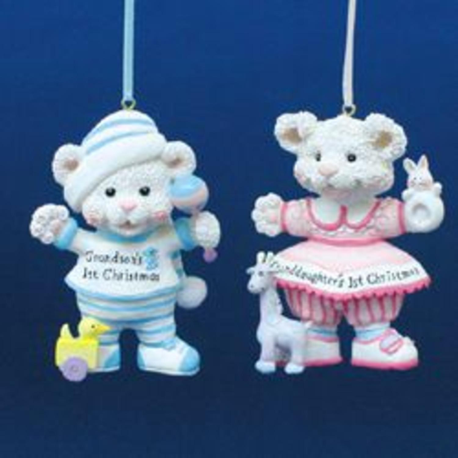 Club Pack of 12 Grandchild's 1st Christmas Cub Ornaments for Personalization 4""