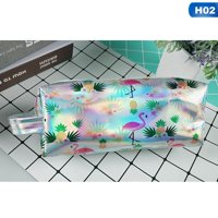 KABOER New Flamingos Holographic Laser Large Pencil Box Crayon Box Of Kawaii School Material Pencil Cases Makeup Bag