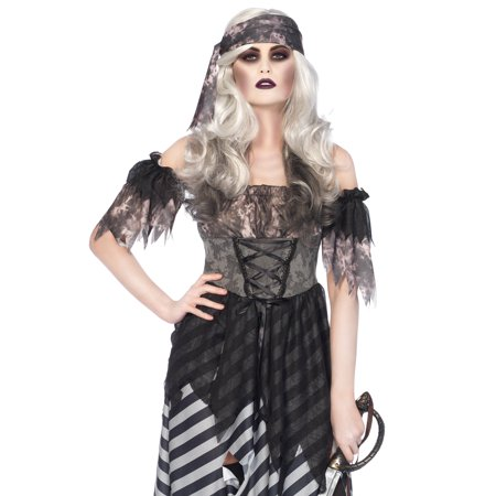 Leg Avenue 3PC. Ghost Pirate, tattered dress, arm puffs, head wrap X-LARGE GREY/BLACK