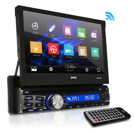 PYLE PLBT73G - Single Din DVD Receiver Bluetooth - 7-Inch Car Stereo Touch Screen Headunit Receiver - Built-In Mic, Hands-Free Call Answering -AM/FM Radio CD/DVD Car Audio System ()