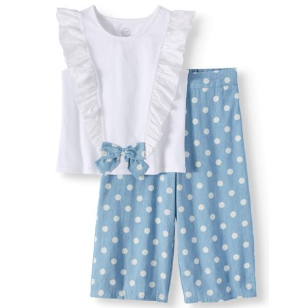 Plus Outfits (Bow Front Ruffle Top and Gaucho Pant, 2-Piece Outfit Set (Little Girls, Big Girls & Big Girls)