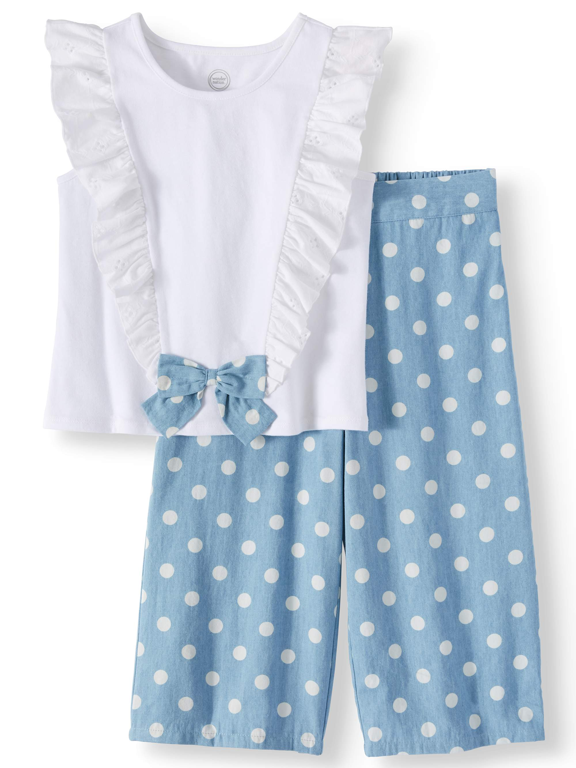 Bow Front Ruffle Top and Gaucho Pant, 2-Piece Outfit Set (Little Girls, Big Girls & Big Girls Plus)