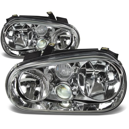 For 1999 to 2006 Volkswagen VW Golf / Cabrio MK4 Chrome Housing Headlight Headlamps 00 01 02 03 04 05 Left+Right
