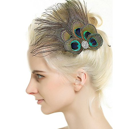 Nero Women's Handmade Peacock Feather Fascinator Headpiece, Fascinator Headband for Fancy Party - image 3 de 3