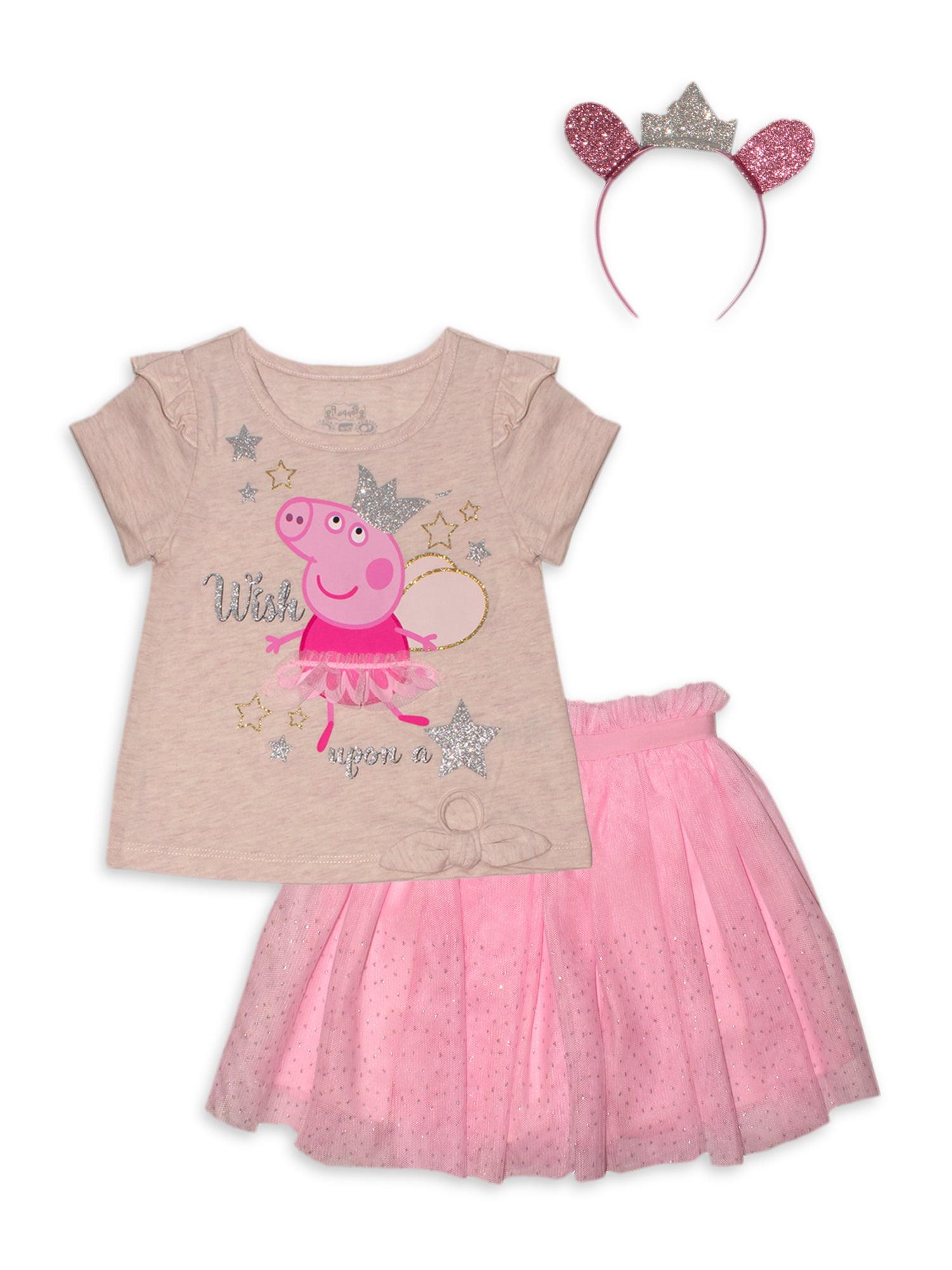 Disney Frozen Toddler Girls T-Shirt Skirt Headband Set 2T