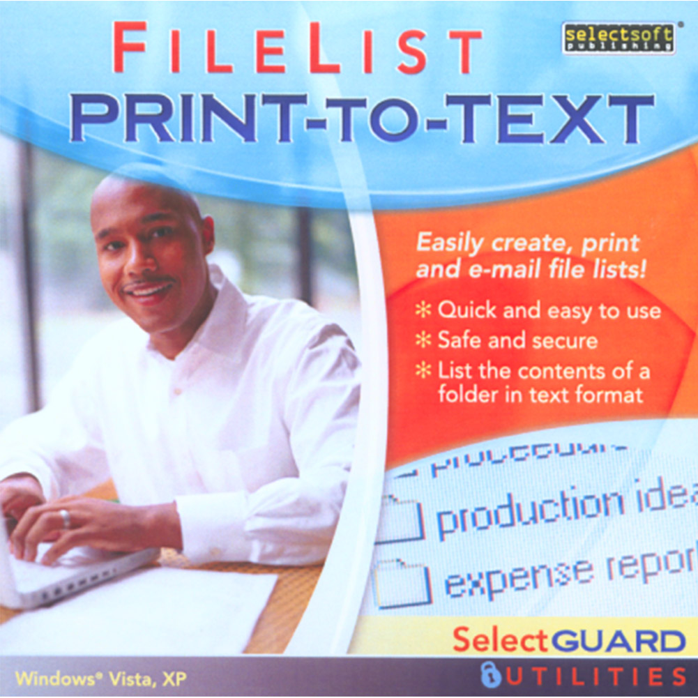 SelectGuard FileList Print-To-Text for Windows PC