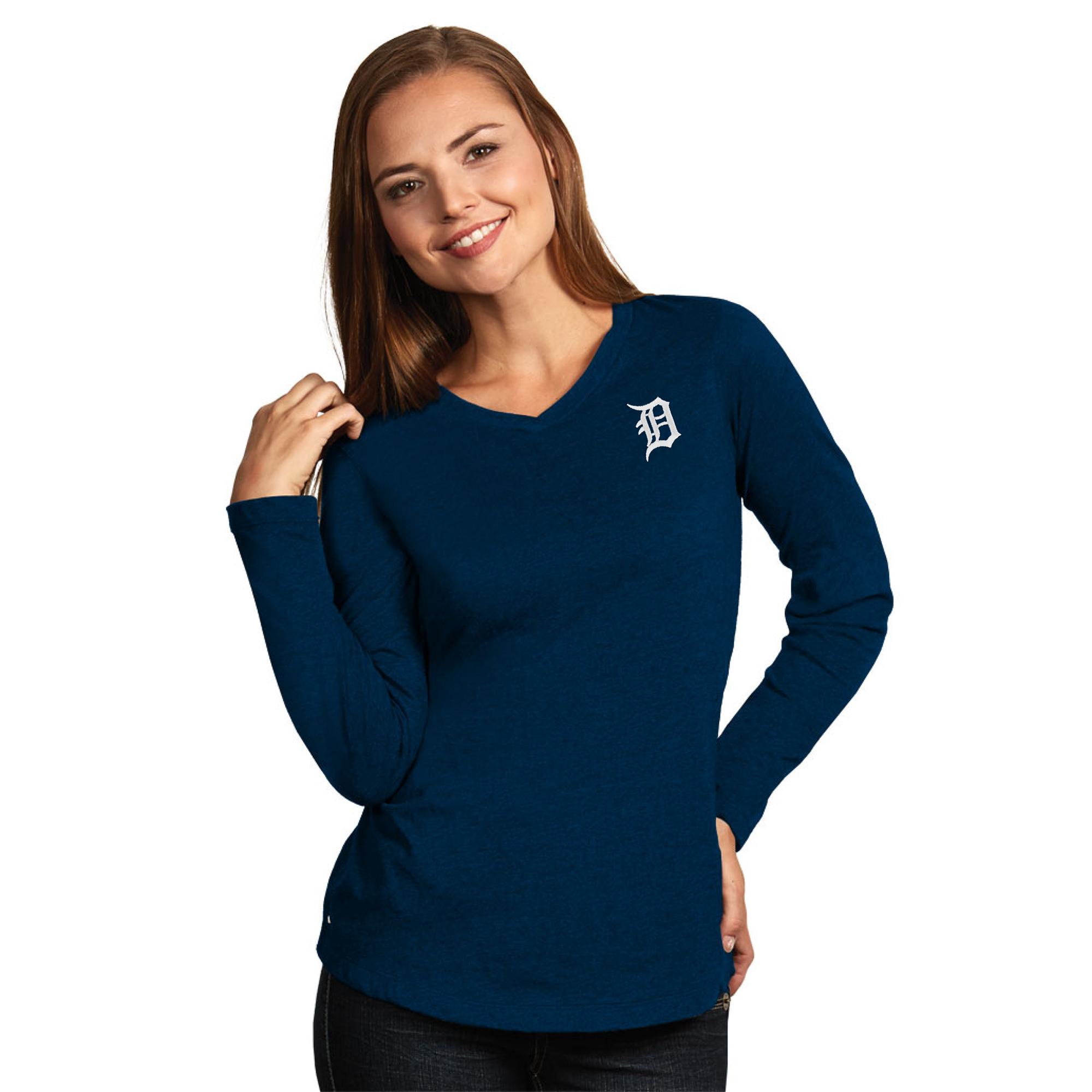 Detroit Tigers Antigua Women's Flip Long Sleeve T-Shirt - Heather Navy