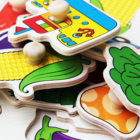Baby Toys Montessori Wooden Puzzle Hand Grab Board Educational Wood Puzzles - image 2 de 8