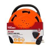 Hyper Tough 4-Outlet 25ft Extension Cord Indoor Cord Reel, Orange