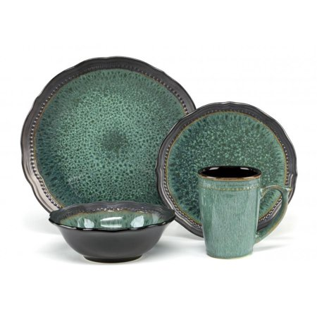 Cuisinart Jenna Green Collection Stoneware 16-Piece Dinnerware Set ()