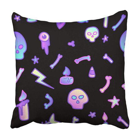 CMFUN Cute on Black in 80S Pastel Goth Great for Halloween Party and Flyers Greeting Pillowcase 16x16 inch