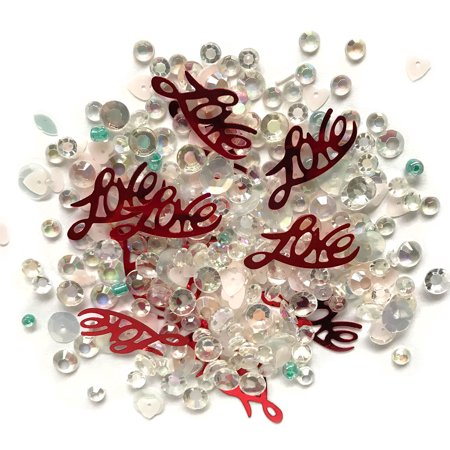 Buttons Galore Love Affair - Clear Acrylic Gems, Sequins, Flat Back Pearls - 3 Packs 36 Grams